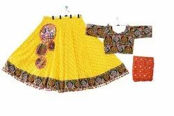 Yellow Embroidered Indian Traditional Bandhej Cotton Ghagra choli - Garba Dance Costume