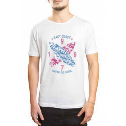 Men White Printed T-Shirt, Size: S-XXL
