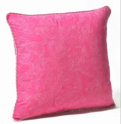 16 X 16 Inch Pink Yarrow Paisley Uni Embroidery Cushion Cover