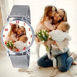 Silver Analog Customised Watches For Her , Best Gifts For Girl Birthday