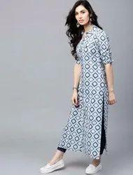 Light Blue Casual Wear Ladies Ankle Length Printed Kurti