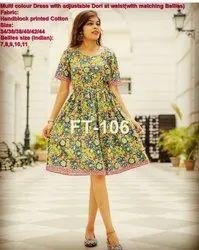 Western Wear Ladies Block Printed Cotton Dress, Size: XL