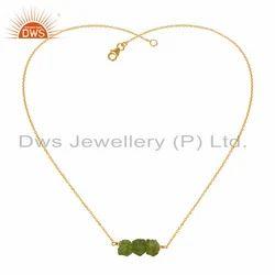 Natural Peridot Gemstone Gold Plated 925 Silver Pendant