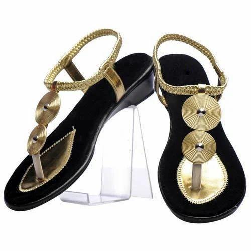 febef4822 Party Wear Black And Golden Ladies Belt Sandals