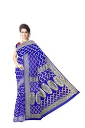 All Over Blue Color Checks Design  Banarasi Georgette Saree