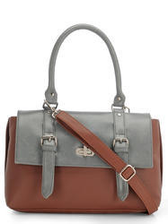 Yelloe Grey Tan  Synthetic Leather Hand Bag  With Stylish Fl