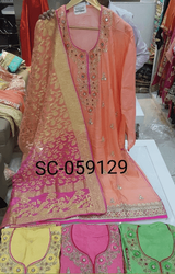 Silk Designer Suits With Heavy Dupatta