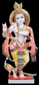 White Painted Marble Krishna Statue With Peacock, For Worship, Size: 12 To 66 Inch
