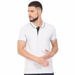 Mens Collar/Polo Neck White T Shirt