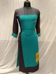 Custom Casual Wear Kesar Straight Fancy Rayon Kurti