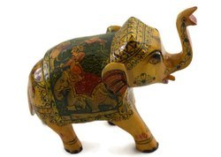 Handamde Camel Bone Elephant With Miniature Painting