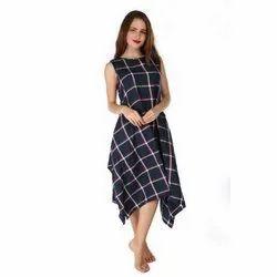 Cotton Printed Ladies Designer One Piece Dress