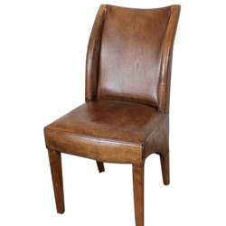 Wooden,Leather Brown Modular Wooden Leather Dining Chair