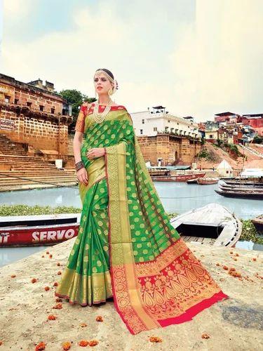 afdb0dcf76 Green Wedding Wear & Festive Wear Designer Banarasi Silk Saree Online