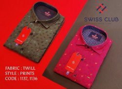 Collar Neck Swiss Club Men's Casual Twill Printed Shirts