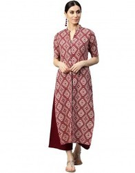 Women Brown Geometric A-Line Cotton Dress