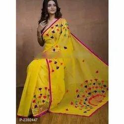 Party Wear Yellow Designer Handloom Silk Cotton Saree, 5.5 m (Separate Blouse Piece)
