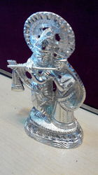 White Metal Lord Krishna Statue