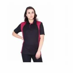 UB-D-Tee-01 Black & Red Designer Dry Fit Polo T Shirt For Female