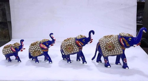 Meena Painted Elephant With Stone Work