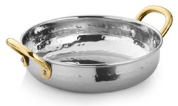 Stainless Steel Hammered Round Serving Pan Bowl with Small Brass Handles