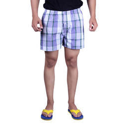 Mens Blue Checked Shorts