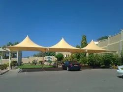 Blue Dome And Pyramid Car Parking Tensile Structure