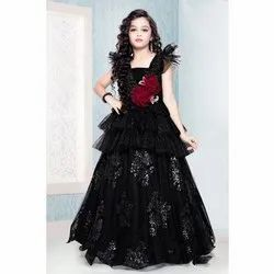 Imported Sequence Fabric Party Wear Kids Black Frilled Gown, Age: 4 - 12 Years