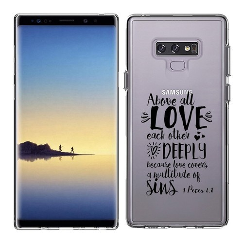 reputable site 39f74 d536a Clear Transparent Case For Galaxy Note 9 Printed With Embossed Effect