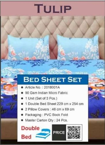 Tulip Bed Sheet Size 229cm 254cm Rs, What Size Is A Double Bed Cover In Cm