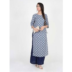 Round Neck Printed Cotton Kurti