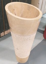 Marble Beige Italian Floor Pedestal Basin, For Home