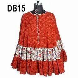 10 Cotton Hand Block Printed Women's Short Poncho Kaftan DB15
