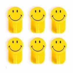 Plastic Self-Adhesive Smiley Face Hooks