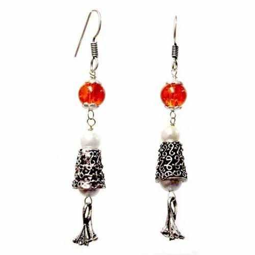 Oxidised Beaded Earring