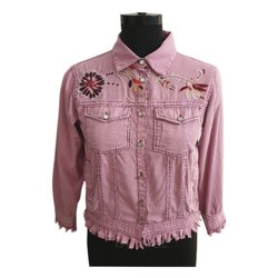 Full Sleeve Casual Jackets Ladies Pink Cotton Jacket, Size: S-L
