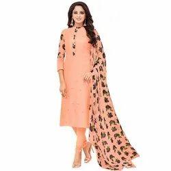 Rajnandini Peach Chanderi Silk Stone Work Semi-Stitched Dress Material With Printed Dupatta