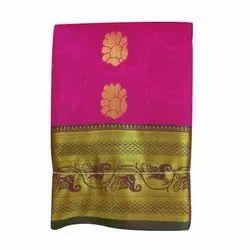 Mama Collection Wedding Wear Banarasi Karishma Satin Saree, 6.3 M (with Blouse Piece)