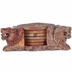 Lion Design Soapstone Coaster Set