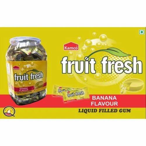 Kamco Banana Flavour Liquid Filled Gum, Packaging Type: Plastic Jar