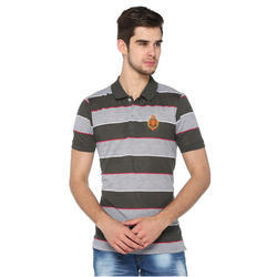 Trendy Black & Grey Striped Collar T-Shirt