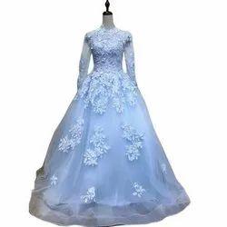 Stitched Embroidered Ladies Designer Net Gown, Size: S-XXL