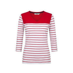 Cotton Casual Ladies Striped Top