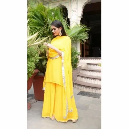 Ladies Kurti Yellow Palazzo Set