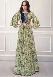 Pastel Green Printed Rayon Gown
