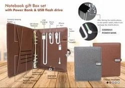 Brown Executive Leather Diary with Power Bank and 8 GB Pen Drive