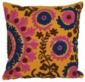 Suzani Embroidery Pom Pom Lace Pillow Cover