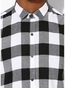 Mens Black White Checks Shirt