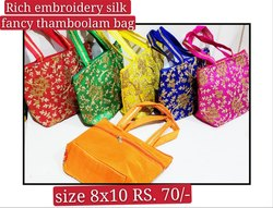 Silk Embroidery Thamboolam Bag