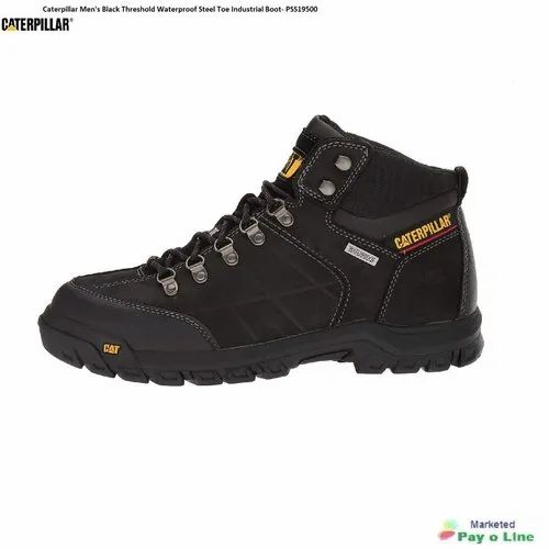 Leather Caterpillar Mens Black Threshold Waterproof Steel Toe